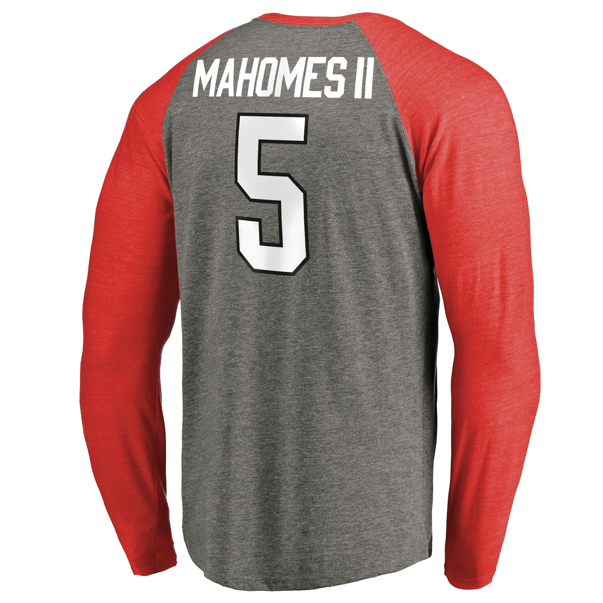 06e6693864d Patrick Mahomes Texas Tech Red Raiders Fanatics Branded Player Icon Name &  Number Raglan Tri-Blend Long Sleeve T-Shirt - Heathered Gray - Walmart.com
