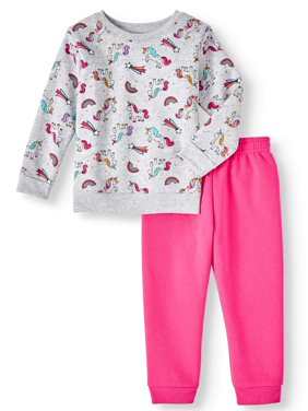 Garanimals Long Sleeve Printed Sweatshirt & Solid Sweatpants, 2pc Outfit Set (Toddler Girls)