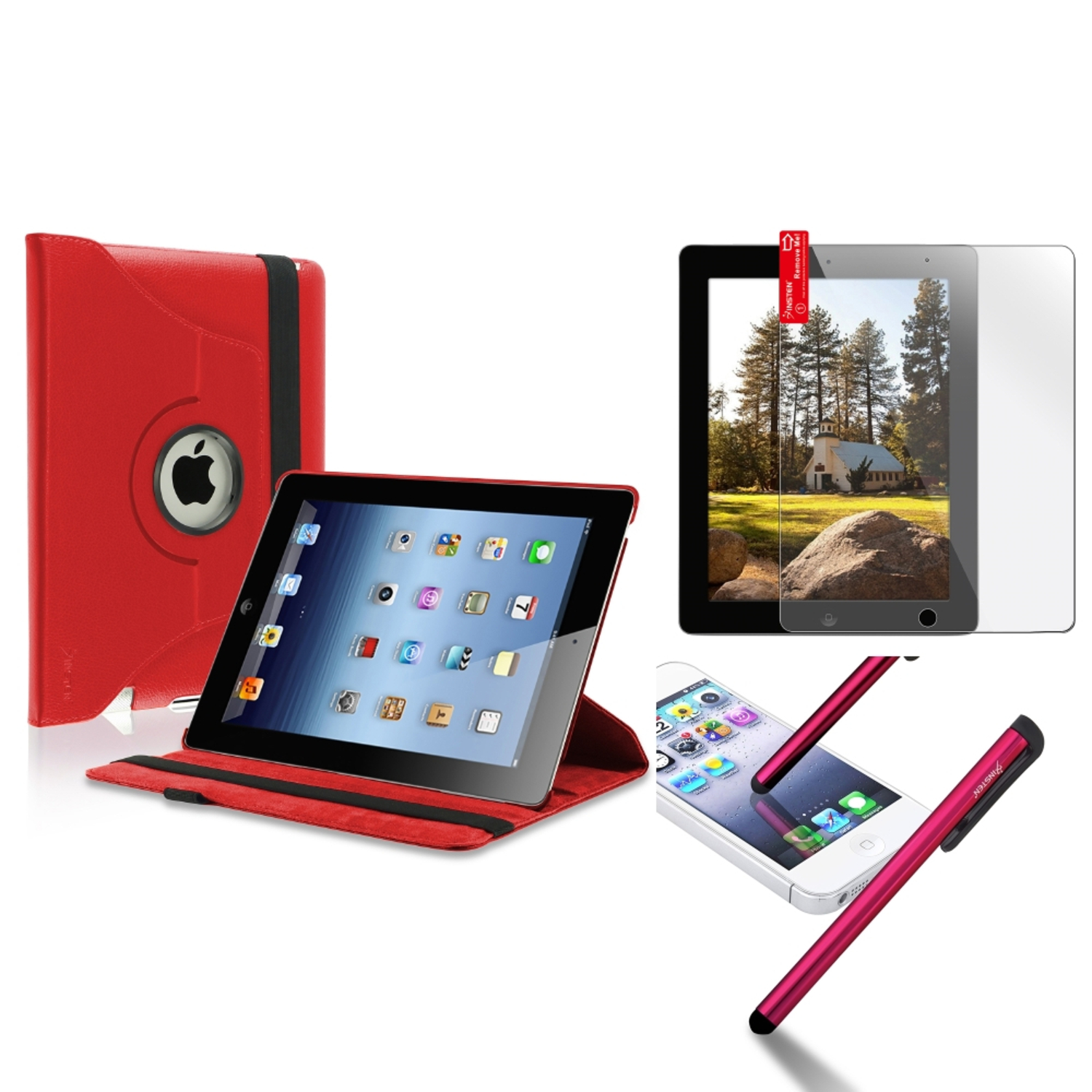 Insten Red 360 Swivel Leather Case 3X Screen Shield Stylus Pen for iPad 4 4th 3 3rd 2nd (Supports Auto Sleep/Wake)