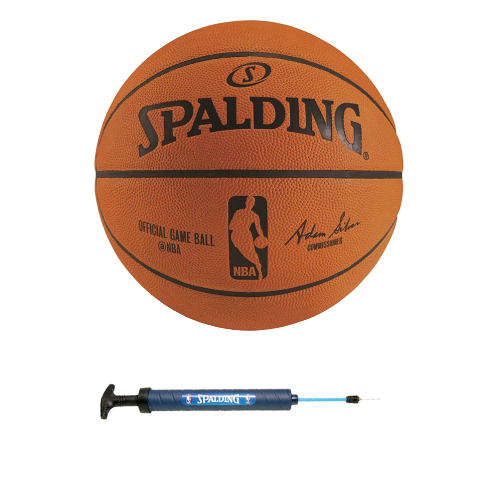 "Spalding NBA Official Game Basketball w/ 12"" Dual Action Pump"