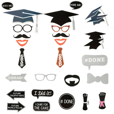 24 Pcs DIY Creative Photo Booth Props Kit Graduation Party Decorations for - Decorations For Graduation Party