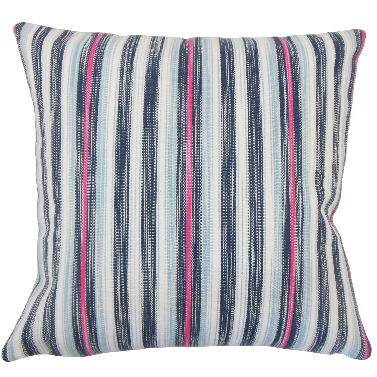 The Pillow Collection Eliora Striped 24-inch Down Feather Throw Pillow - Blue