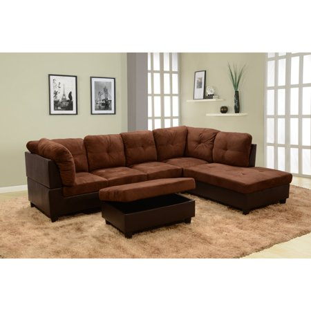 Beverly Fine Furniture 3-Piece Chocolate Microfiber & Faux Leather  Sectional Sofa