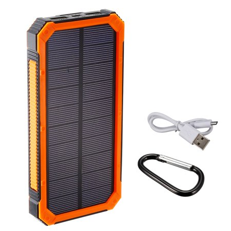 1.5W 10000mAh Solar Charger Dual USB Power Bank Phone Battery Flashlight Orange