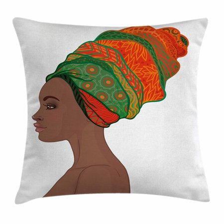 African Woman Throw Pillow Cushion Cover, Afro Female Young Beauty Traditional Hair Dress Turban Ornate, Decorative Square Accent Pillow Case, 18 X 18 Inches, Scarlet Green Chocolate, by Ambesonne