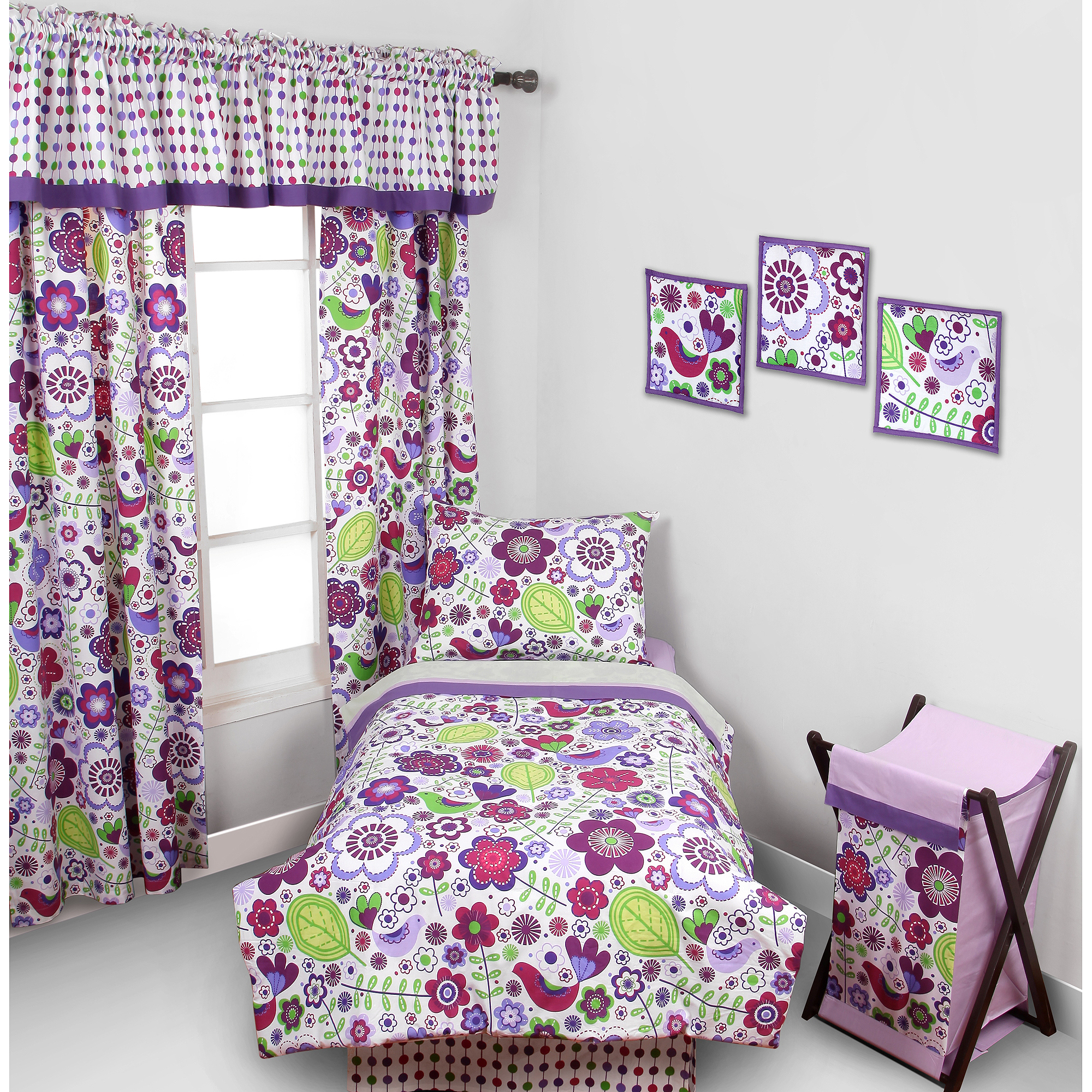 Bacati Botanical 4pc Toddler Bedding set 100% Cotton percale,  Purple