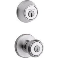 690 Tylo Keyed Entry Knob and Single Cylinder Deadbolt Combo Pack in Satin Chrome