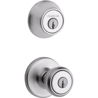 Kwikset 690 Tylo Entry Knob and Single Cylinder Deadbolt Combo Pack featuring SmartKey in Antique Brass