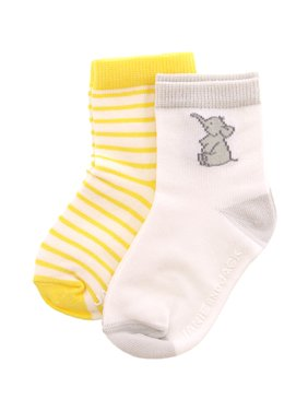Janie And Jack White / Yellow Elephant Stripe Sock 2 Pack - 18-24 Months