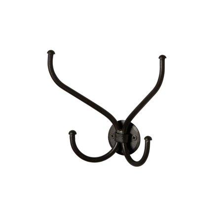 Blacksmith Handmade Butterfly Style Wrought Iron Double Hook Towel Holder Hat Rack Coat Hanger Black