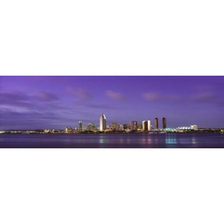 USA California San Diego dusk Canvas Art - Panoramic Images (18 x