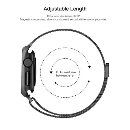 For Apple Watch Band with Case 42mm, Stainless Steel Mesh Milanese Loop with Adjustable Magnetic Closure Replacement Wristband iWatch Band for Apple Watch Series 3 2 1 - Black - image 1 of 3