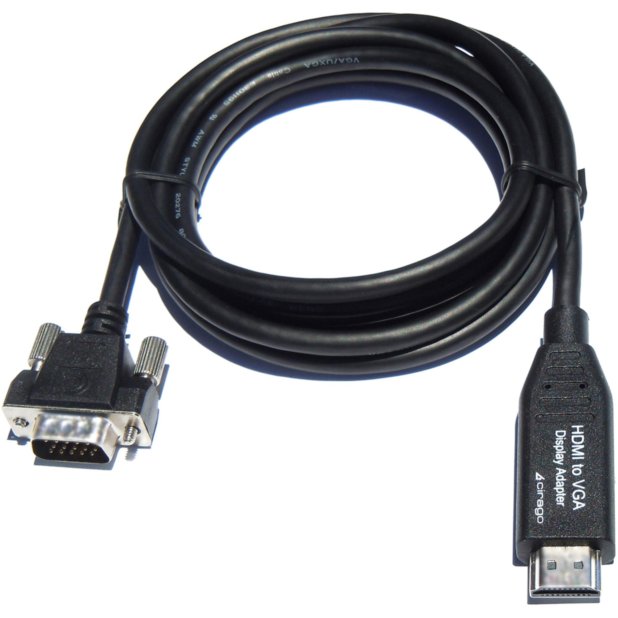 Cirago HDM2VGA06BLK HDMI to VGA Display Adapter Cable, 6', Black