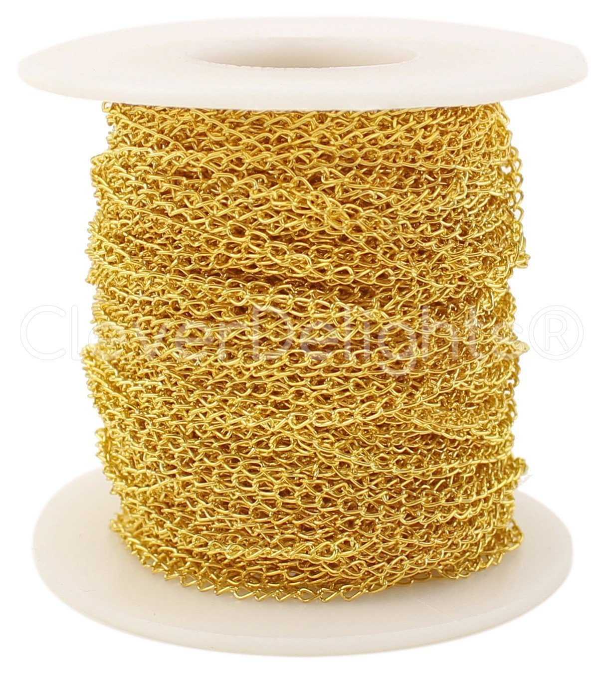 CleverDelights Curb Chain Spool - 2x3mm Link - Gold Color - 100 Feet