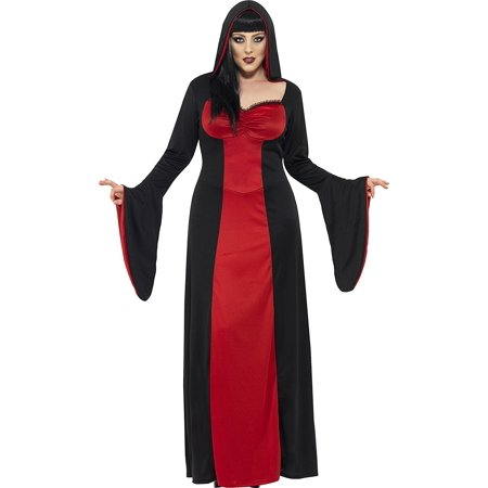 Smiffy's Women's Dark Temptress Costume, Dress and Hood, Legends of Evil, Halloween, Plus Size 18-20, 40077, 100% Polyester By Smiffys Ship from US