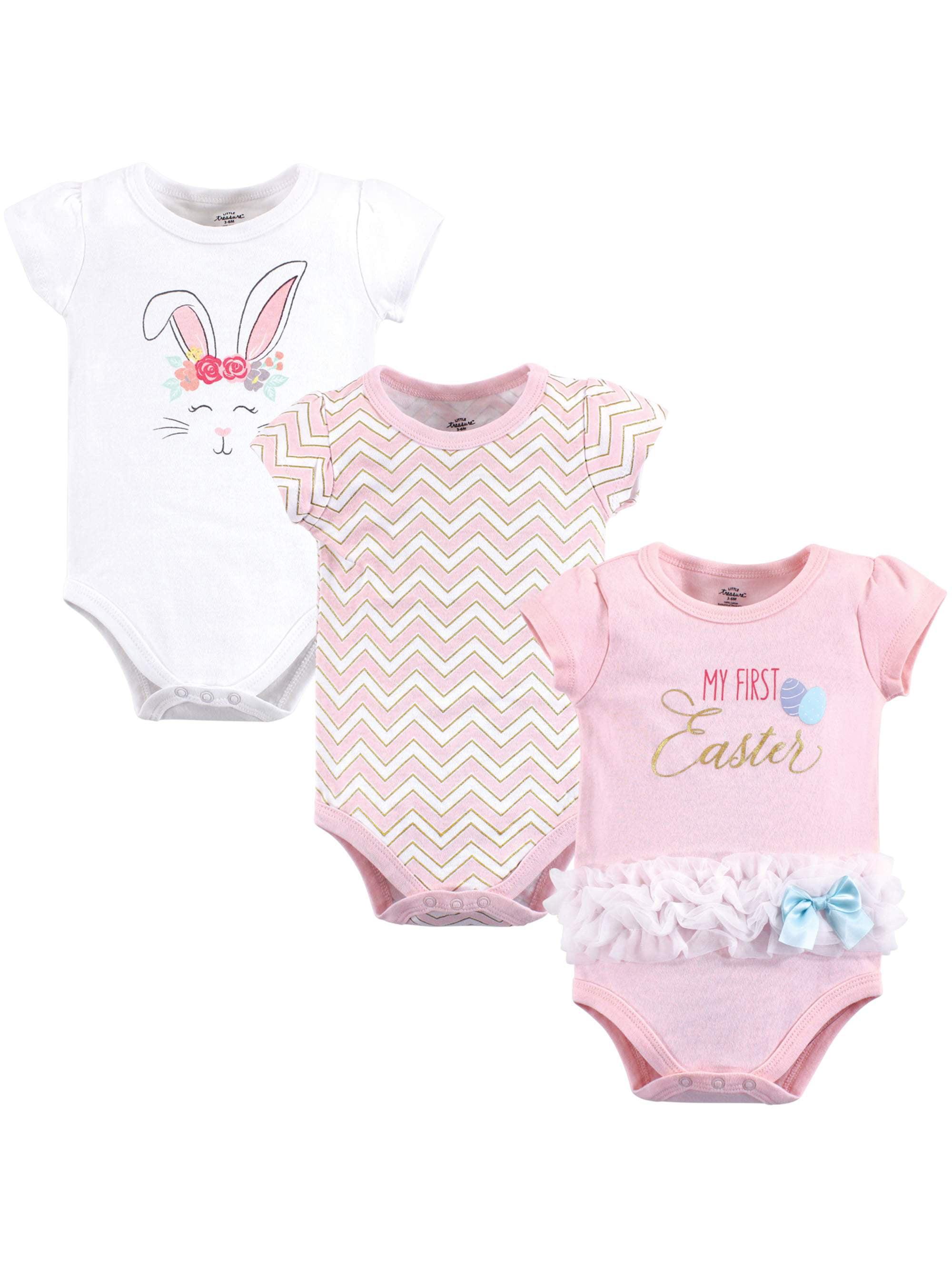 145ed03db09a Little Treasure - Bodysuits 3Pk (Baby Girls) - Walmart.com