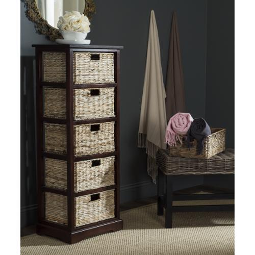 Safavieh Vedette Cherry 5-drawer Wicker Basket Storage Tower