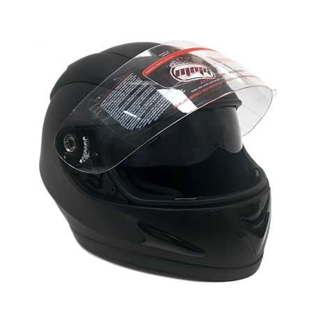 Double Helmet - Motorcycle Full Face Helmet DOT Street Legal DOUBLE VISOR - Clear Flip Up Shield and Retractable Inner Smoked Shield – Matte Black (Large) (118_DV)