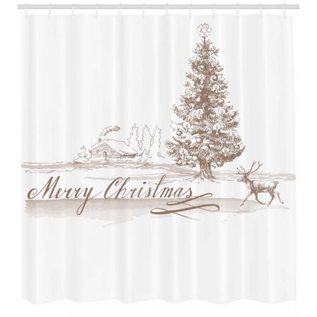 Christmas Shower Curtain Romantic Vintage New Year Scenery With Reindeer Tree And Star Religious Design
