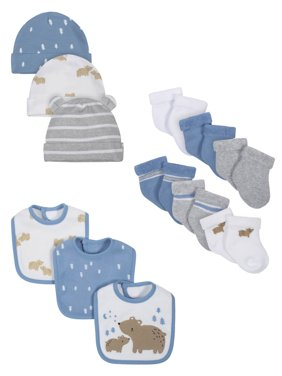 Wonder Nation Baby Boy Assorted Socks, Bibs & Caps Accessory Set, 12-Pieces