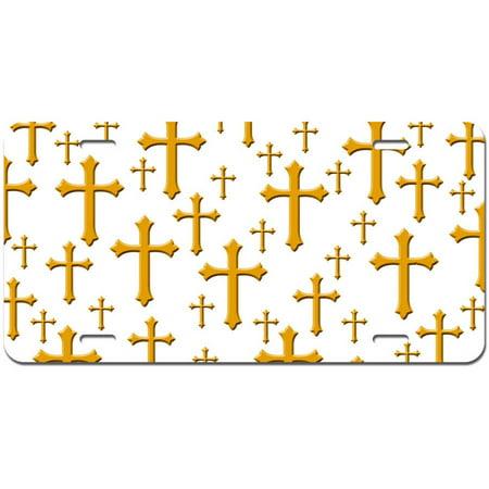 Fancy Christian Cross White Novelty Metal Vanity License Tag Plate