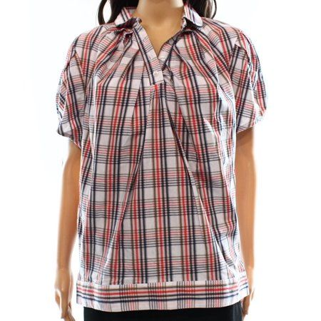 Dear Creatures New White Red Womens Size Large L Plaid Print Blouse
