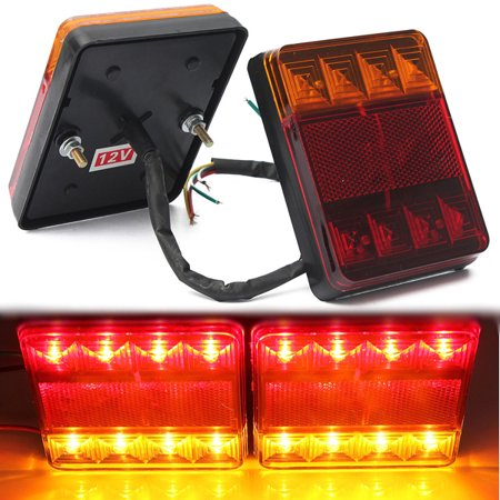 2pcs 12V LED Rear Tail Light Turn Signal Indicator Brake Stop Running Lamp Trailer Car Truck Boat Caravan RV UTE Red Amber Waterproof US ()