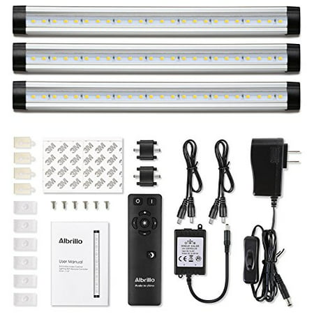 competitive price 67c5b 36be6 Albrillo Remote Control LED Under Cabinet Lighting, Dimmable Warm White  3000K, 12W 900 Lumens, 3 Pack