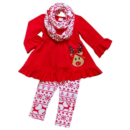 So Sydney Toddler Girls 3 Pc Halloween Fall Tunic Top Leggings Outfit, Infinity Scarf - College Girl Halloween Outfits