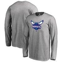 Charlotte Hornets Fanatics Branded Youth Primary Logo Long Sleeve T-Shirt - Heathered Gray