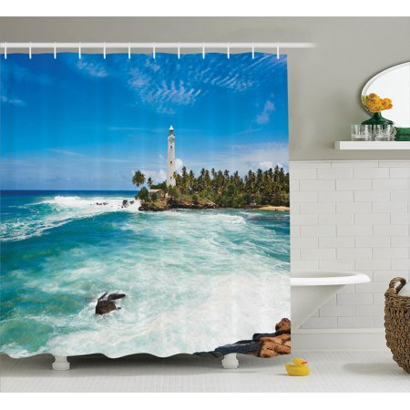 Seaside Rocks - Lighthouse Decor Shower Curtain Set, Tropical Island Lighthouse With Palm Trees Rocks Wavy Seaside Beach Ocean, Bathroom Accessories, 69W X 70L Inches, By Ambesonne
