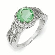 Sterling Silver CZ & Simulated Paraiba Tourmaline Faceted Ring