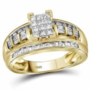 Roy Rose Jewelry 10K Yellow Gold Womens Princess Diamond Cluster Bridal Wedding Engagement Ring 1/2-Carat tw - Size 7.5