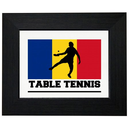 Romania Olympic Table Tennis Flag Silhouette