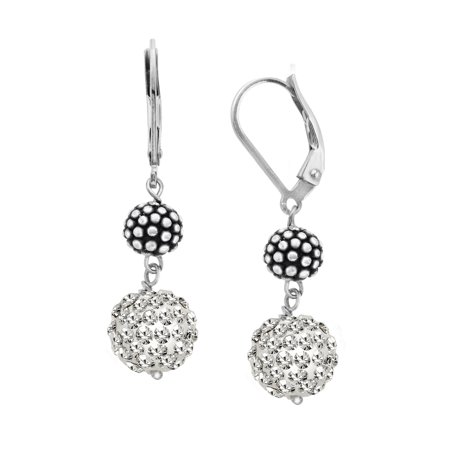 Ball Drop Earrings With Swarovski Crystals Pav In Sterling Silver