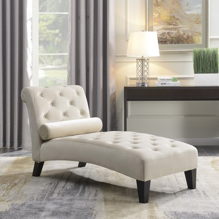 Belleze Leisure Chair Rest Sofa Chaise Lounge Couch for Indoor Living Room Furniture Home Office Button Tufted, Beige