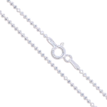 Sterling Silver Diamond-Cut Ball Bead Chain 1.5mm 925 Italy Dog Tag Necklace 16