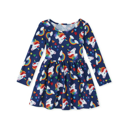 The Children's Place Unicorn Rainbow Knit Pleated Dress (Baby Girls & Toddler (Body Tape To Keep Dress In Place)