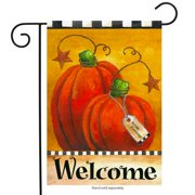 "Pumpkin Autumn Welcome Primitive Garden Flag Fall Briarwood Lane 12.5"" x 18"""