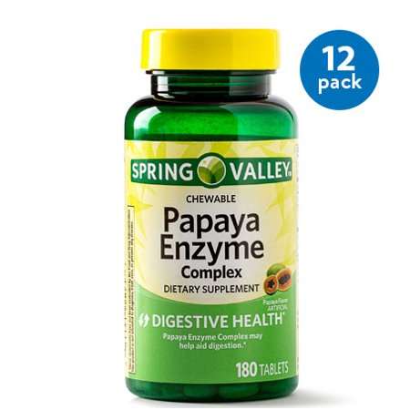Foods Natural Enzymes - (12 Pack) Spring Valley Papaya Enzyme Complex Tablets, 180 Ct