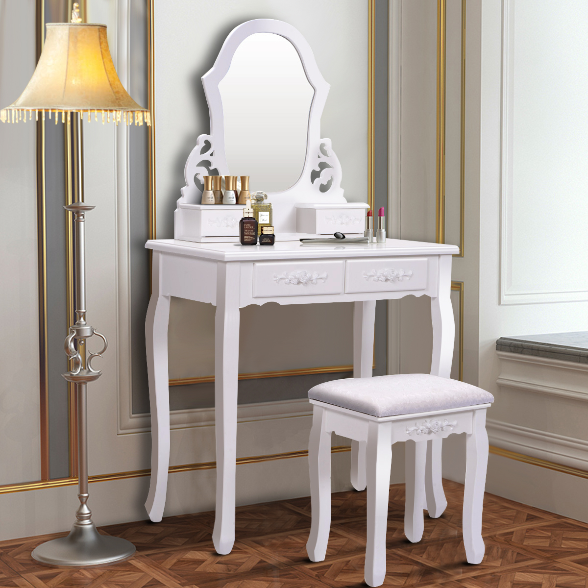 Costway White Vanity Jewelry Wooden Makeup Dressing Table Set bathroom  W/Stool Mirror & 4 Drawer
