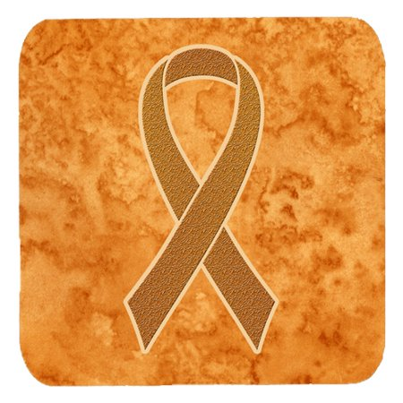 Set of 4 Orange Ribbon for Leukemia Awareness Foam Coasters AN1204FC
