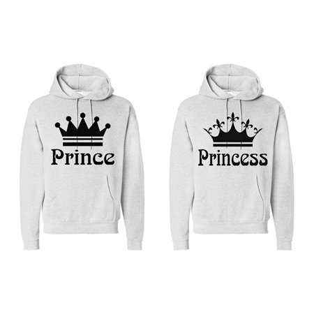 FASCIINO Matching Couple Hooded His & Hers Sweatshirts Set - Prince and Princess Crowns