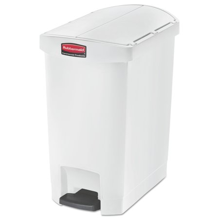 Rubbermaid Commercial Slim Jim Resin Step-On Container, End Step Style, 8 gal, White