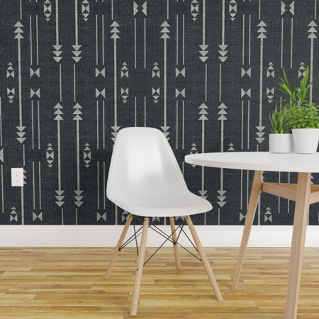 Removable Water Activated Wallpaper Arrow Texture Modern Home Geo Line