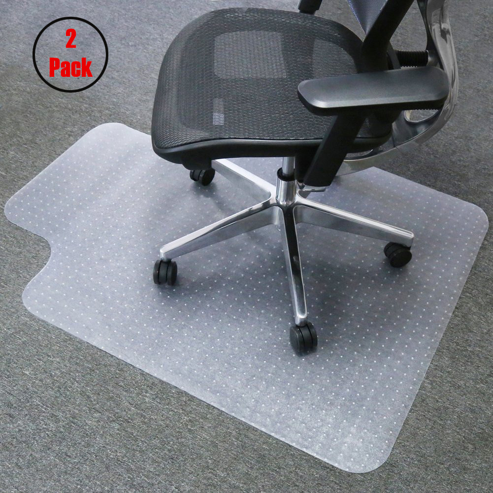 "Zimtown 2 Pcs Thicker PVC Home Office Chair Mat Studded Lip Carpet Floor Clear 48""x36""x0.079"""
