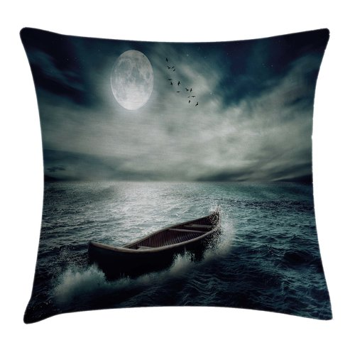 Ambesonne Fishing Decor a Boat Pillow Cover by Kozmos