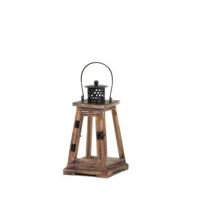 Small Hanging Pyramid Top (Small Ideal Candle Lantern, The classic Pine wood small candle lantern features a pyramid design and is topped with an Oversized metal handle and roof By Koehler,USA )