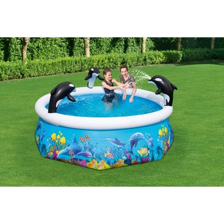 H2OGO! Orca Round Inflatable Spray Easy-Set Pool