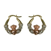 Rose Gold Tone/Gold Tone/Silver Tone Claddagh Hoop Earrings